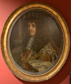 The Duke of Monmouth Large Antique Oval Oil Painting on Panel, Framed