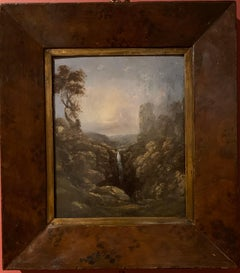 The Highland Waterfall Victorian Oil Painting on Wood Panel, Framed