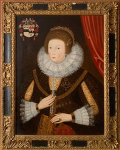 Elizabethan Portrait of Noble Lady Large Framed English Portrait Oil Painting