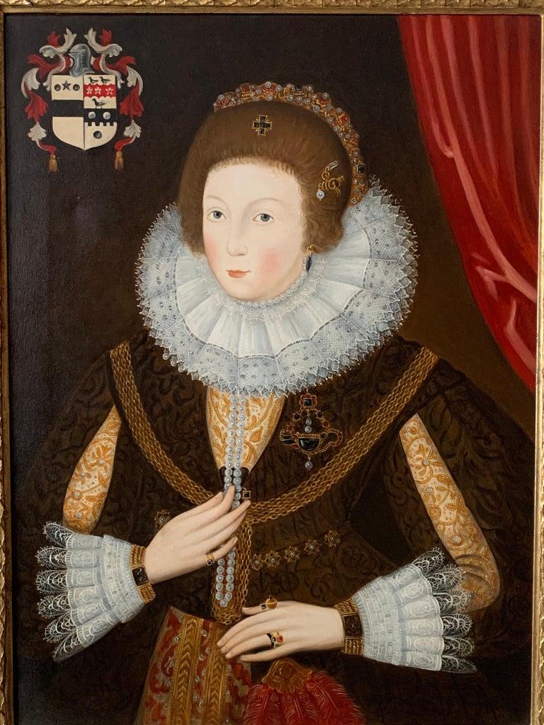 Elizabethan Portrait of Noble Lady Large Framed English Portrait Oil Painting - Brown Portrait Painting by Paul Workman