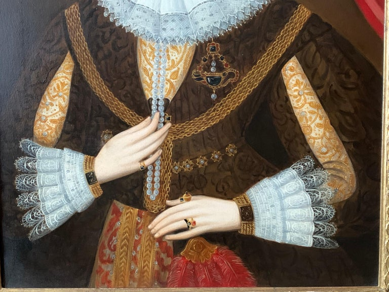 Elizabethan Portrait of Noble Lady Large Framed English Portrait Oil Painting 1