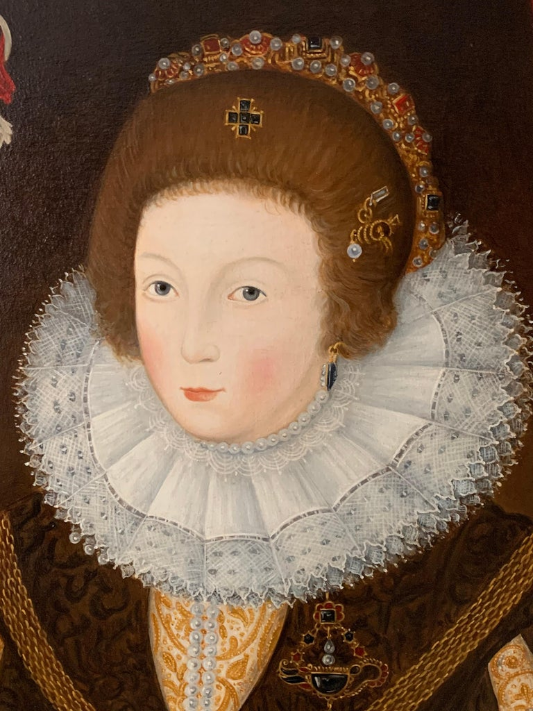 The Elizabethan Lady by Tim Brown, (British contemporary) signed and dated verso oil painting on canvas, framed framed size: 39.5 x 31.5 inches provenance: private collection, England  Beautiful quality English oil painting depicting this