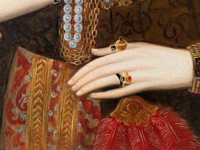 Elizabethan Portrait of Noble Lady Large Framed English Portrait Oil Painting 2