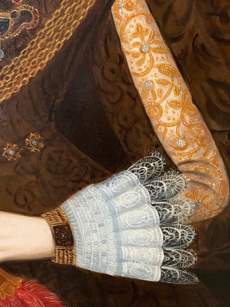Elizabethan Portrait of Noble Lady Large Framed English Portrait Oil Painting 3