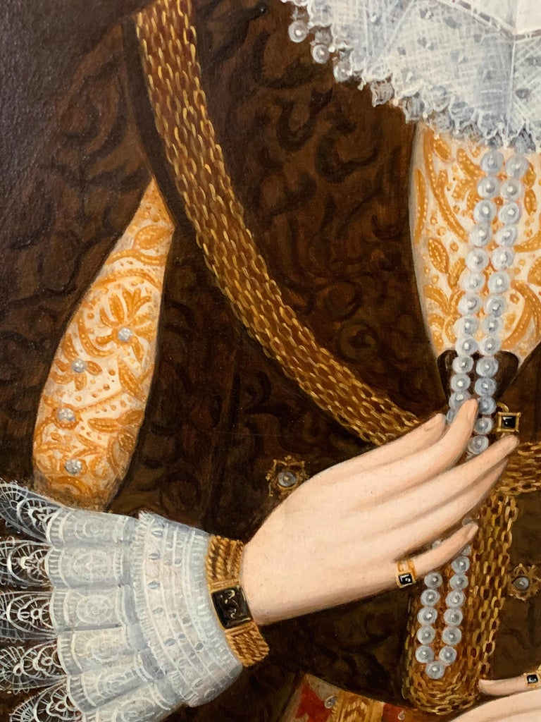 Elizabethan Portrait of Noble Lady Large Framed English Portrait Oil Painting 4