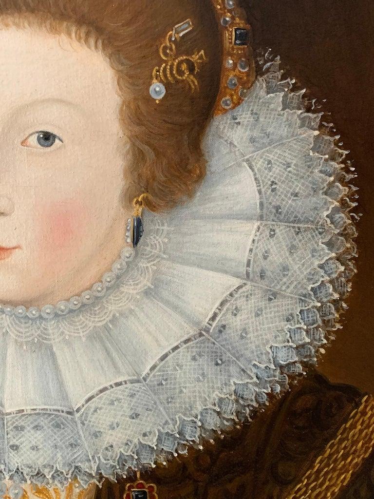 Elizabethan Portrait of Noble Lady Large Framed English Portrait Oil Painting 7