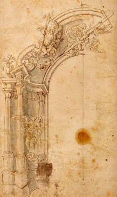 Genoese School 17th Century Old Master Ink Drawing Cathedral Interior & Cherubs