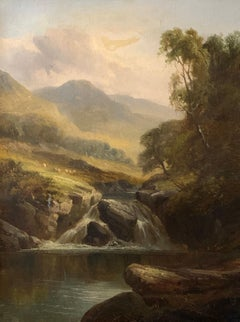 Waterfall in Scottish Highland Landscape Sheep Grazing Tranquil Victorian Oil
