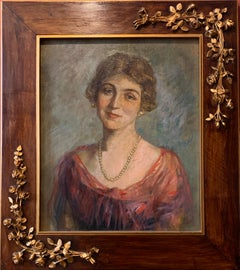 1920's Portrait of English Society Lady Framed Oil Painting on Canvas