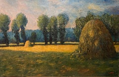 French Impressionist Oil Painting Haystacks at Giverny