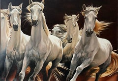 White Horses Running Free Large Russian Signed Oil Painting on Canvas