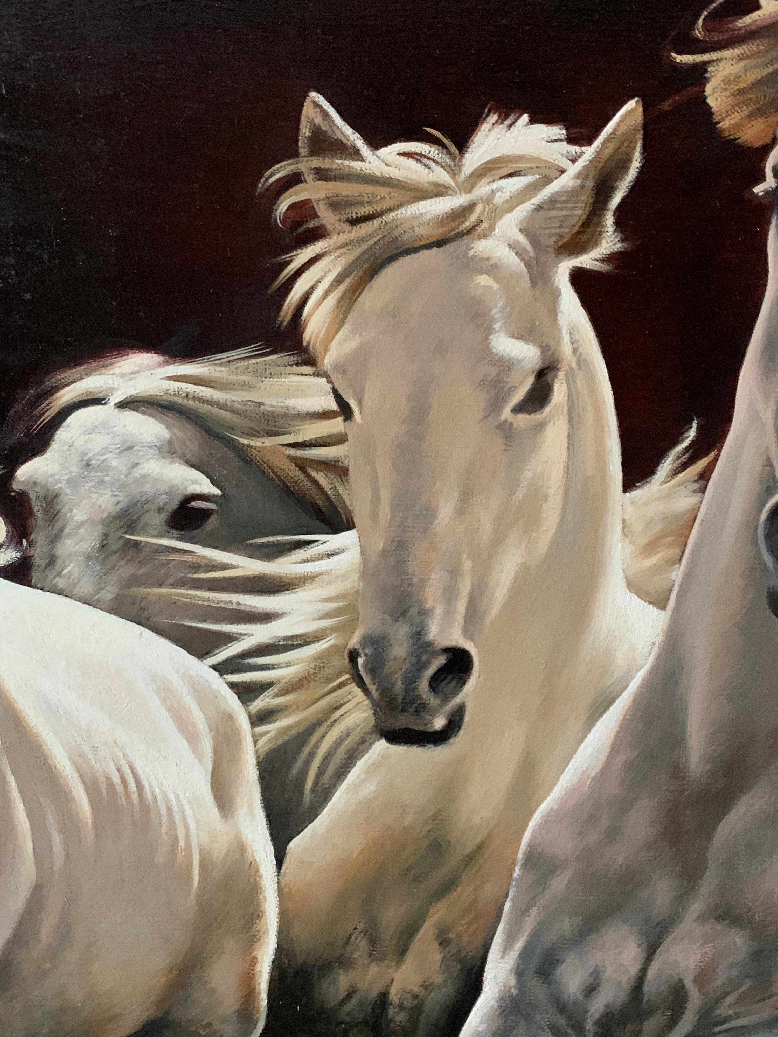 Lubov Bazanova White Horses Running Free Large Russian Signed Oil Painting On Canvas At 1stdibs
