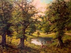 Richmond Park near Ham Antique British Oil Painting Listed Artist Gilt Frame