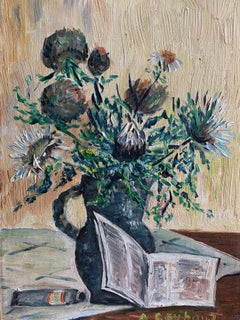 Vintage French Signed Oil Thick Impasto Paint Still Life Flowers