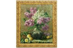 Vase de Fleurs Large 1920's Belgian Impressionist Flower Painting oil on canvas