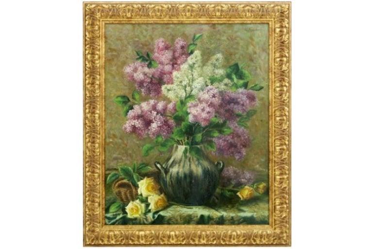 Eugene Van Mierlo (1880-1972)  Still-Life Painting - Vase de Fleurs Large 1920's Belgian Impressionist Flower Painting oil on canvas