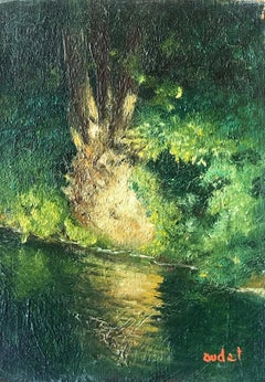 Mid 20th Century French Impasto Oil Painting on Canvas Dappled Light River