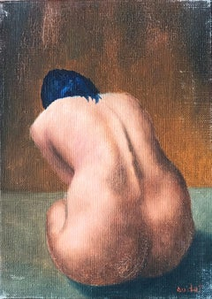 Mid 20th Century French Impasto Oil Painting on Canvas Nude Model
