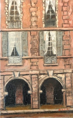 Mid 20th Century French Impasto Oil Painting on Canvas City View