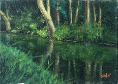 Mid 20th Century French Impressionist Oil Painting on Canvas River Landscape