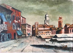 Venice Back Streets Mid 20th Century French Impasto Oil Painting on Canvas