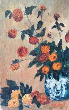 Mid 20th Century French Impasto Oil Painting on Canvas Still Life