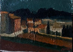 Mid 20th Century French Impasto Oil Painting Village at Dusk