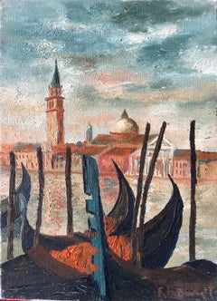 Mid 20th Century French Impasto Oil Painting Grand Canal Venice
