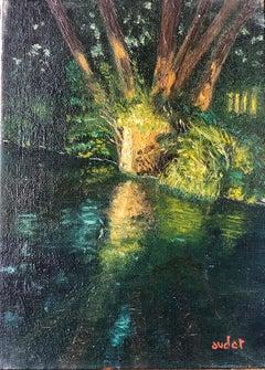 Mid 20th Century French Oil Dappled Light River Scene