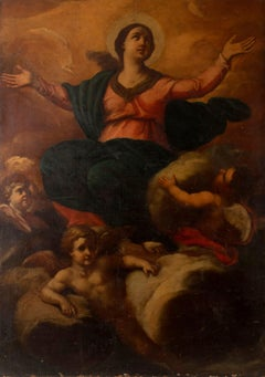 The Assumption of the Virgin Huge 17th century Italian Old Master oil painting