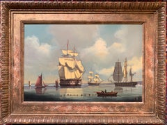 Man o War Portsmouth Harbour Large Historical Marine Oil Painting