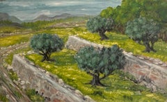 Olive Groves in Provence, Signed Impressionist Oil Painting on canvas