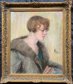 1930's Portrait of Young Society Lady in Fur Coat, Signed Oil Painting Framed