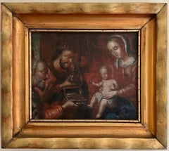 EARLY 1600'S ITALIAN OLD MASTER OIL - ADORATION OF THE MAGI NATIVITY SCENE