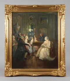 Rococo Elegant Interior with Musicians Playing to Guests Large Oil Painting