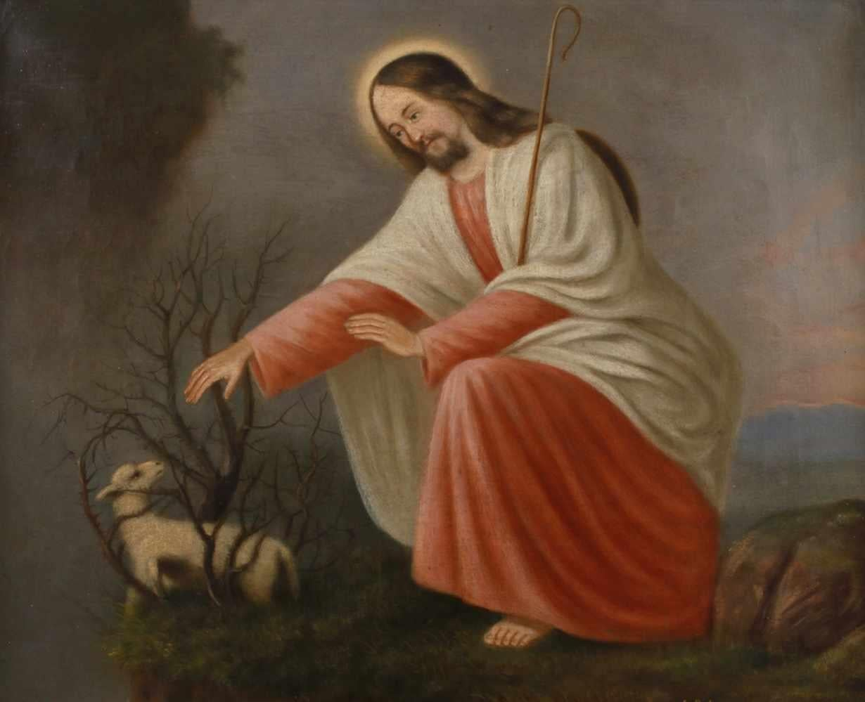The Good Shepherd Antique German Oil Painting on Canvas Christ with Lamb