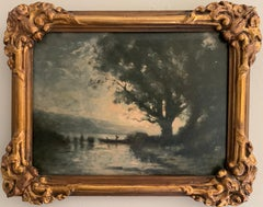 FINE 19TH CENTURY BARBIZON OIL PAINTING ON PANEL - FIGURE / RIVER