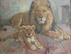 The Lion and his Cub - Signed Original Oil Painting, 1960's