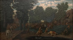 18th Century Flemish Old Master oil Cavaliers Attacking Woodland Village