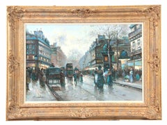 Large Belle Epoque French Oil Painting Bustling Boulevard Paris signed framed