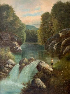 Large Antique British Victorian Oil Painting River Landscape with Angler