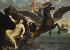 17th Century Huge French Old Master Painting Perseus on Pegasus with Andromeda