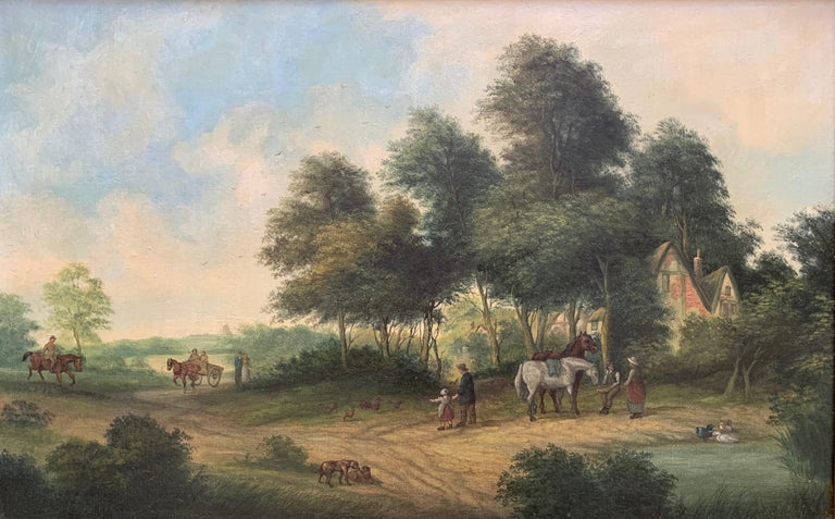 Victorian Oil Painting Horses & Figures in Suffolk Village Landscape & Ducks - Brown Animal Painting by F. W. Wells