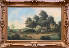 Victorian Oil Painting Horses & Figures in Suffolk Village Landscape & Ducks