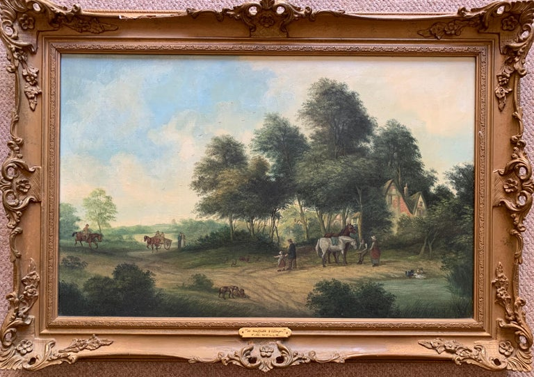 F. W. Wells Animal Painting - Victorian Oil Painting Horses & Figures in Suffolk Village Landscape & Ducks