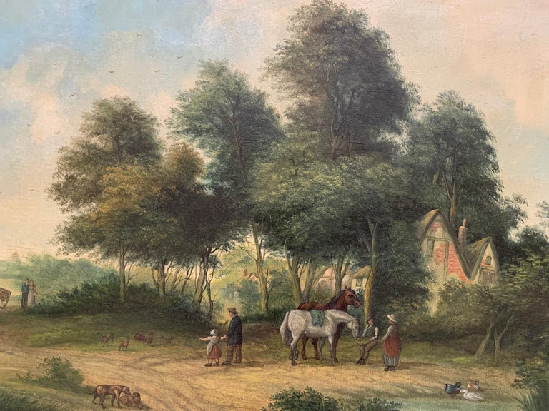 A Suffolk Village by F. W. Wells (British, 19th century) signed lower right, titled to frame plaque oil painting on canvas, framed canvas: 18 x 28 inches framed: 23.5 x 33.5 inches  Lovely traditional Victorian oil painting on canvas, signed by the