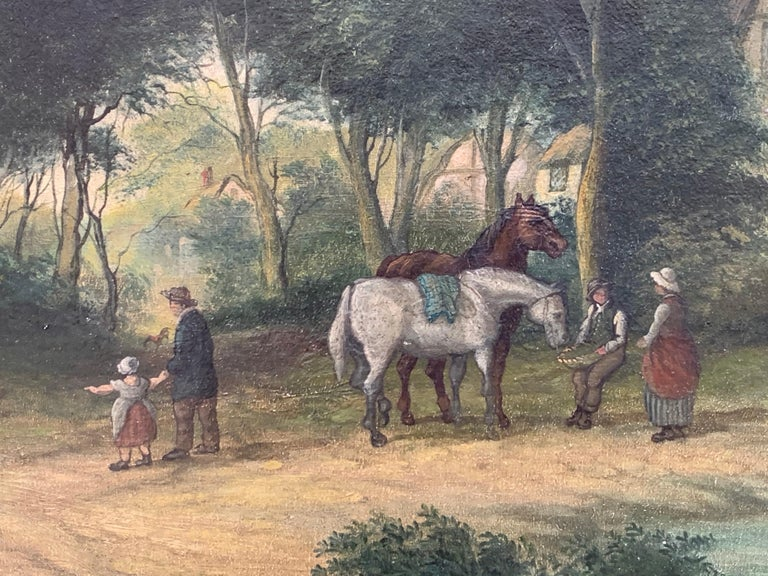 Victorian Oil Painting Horses & Figures in Suffolk Village Landscape & Ducks For Sale 1