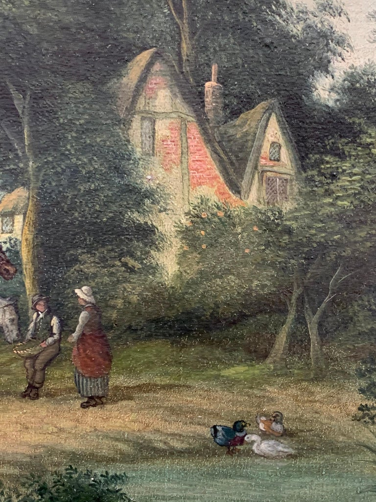 Victorian Oil Painting Horses & Figures in Suffolk Village Landscape & Ducks For Sale 2