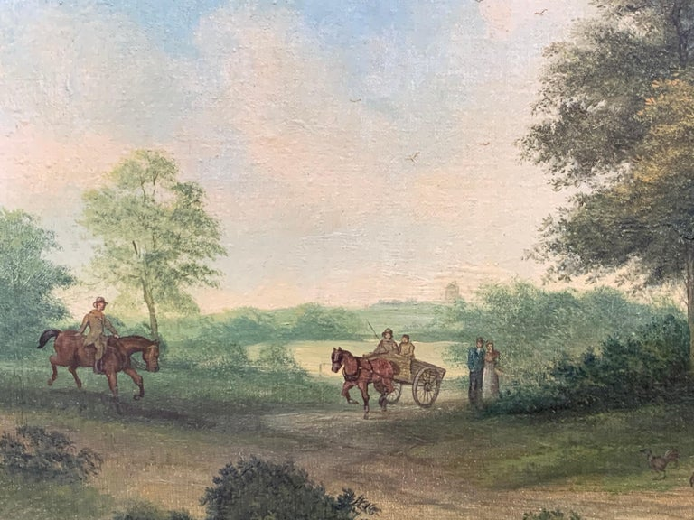 Victorian Oil Painting Horses & Figures in Suffolk Village Landscape & Ducks For Sale 3