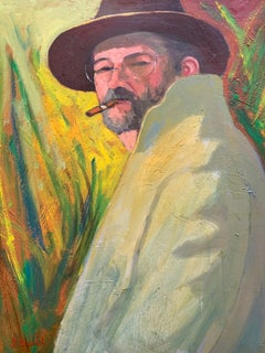 French Portrait Man in Hat Smoking Cigar Large Signed Oil Painting on Canvas